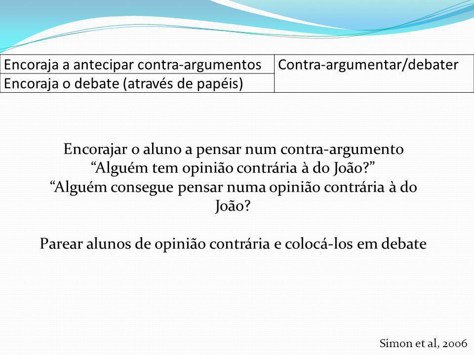 Encoraja a antecipar contra-argumentosContra-argumentar/debater Encoraja o debate (através de papéis) Encorajar o aluno a pensar num contra-argumento