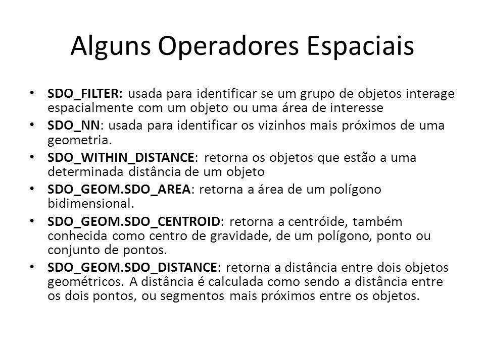 Alguns Operadores Espaciais SDO_FILTER: usada para identificar se um grupo de objetos interage espacialmente com um objeto ou uma área de interesse SDO_NN: usada para identificar os vizinhos mais próximos de uma geometria.