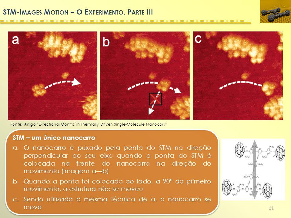11 STM – um único nanocarro a.O nanocarro é puxado pela ponta do STM na direção perpendicular ao seu eixo quando a ponta do STM é colocada na frente d