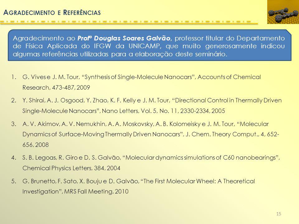 A GRADECIMENTO E R EFERÊNCIAS 1.G. Vives e J. M. Tour, Synthesis of Single-Molecule Nanocars, Accounts of Chemical Research, 473-487, 2009 2.Y. Shirai