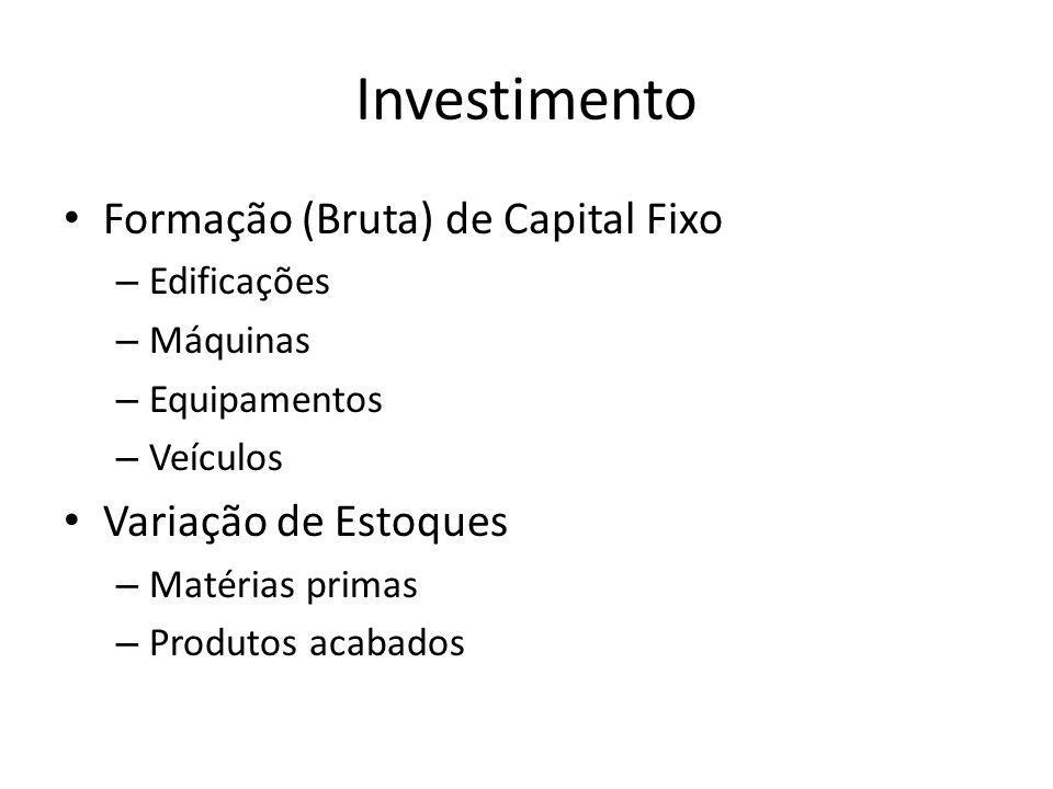 Investimento Formação (Bruta) de Capital Fixo – Edificações – Máquinas – Equipamentos – Veículos Variação de Estoques – Matérias primas – Produtos acabados