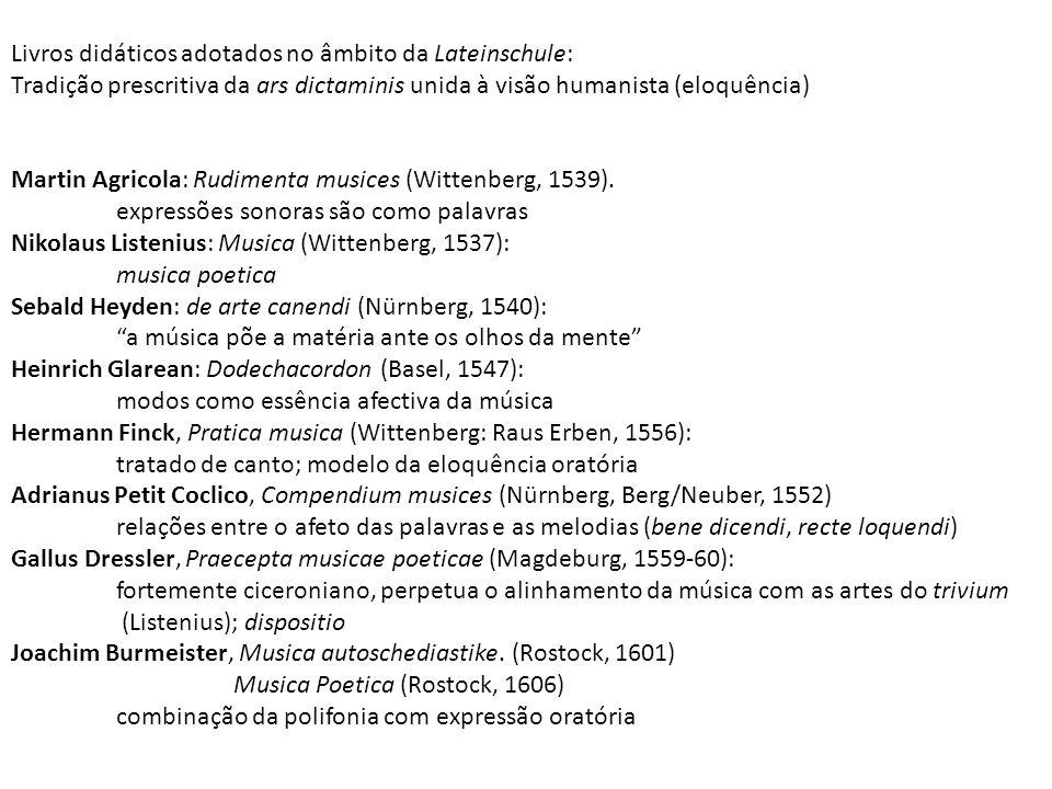 Livros didáticos adotados no âmbito da Lateinschule: Tradição prescritiva da ars dictaminis unida à visão humanista (eloquência) Martin Agricola: Rudi