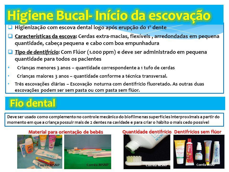 Higienização com escova dental logo após erupção do 1º dente Características da escova: Características da escova: Cerdas extra-macias, flexíveis, arr