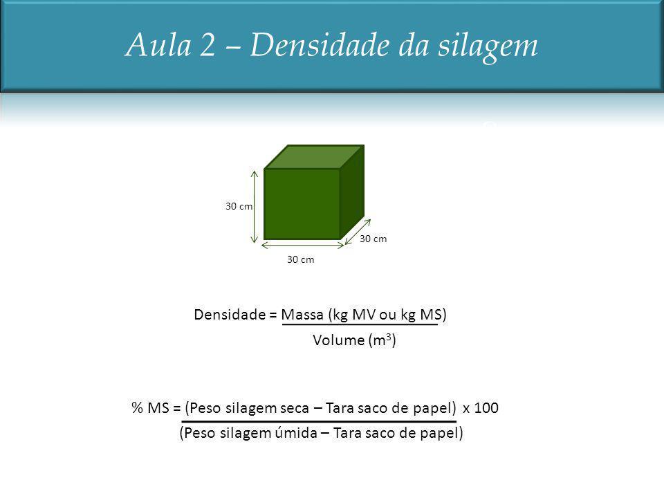 30 cm Volume (m 3 ) Densidade = Massa (kg MV ou kg MS) (Peso silagem úmida – Tara saco de papel) % MS = (Peso silagem seca – Tara saco de papel) x 100
