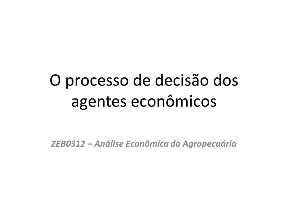 O processo de decisão dos agentes econômicos ZEB0312 – Análise Econômica da Agropecuária