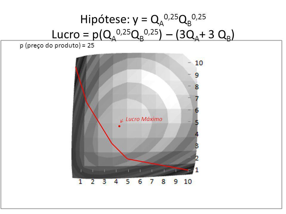 Hipótese: y = Q A 0,25 Q B 0,25 Lucro = p(Q A 0,25 Q B 0,25 ) – (3Q A + 3 Q B ) p (preço do produto) = 25 Lucro Máximo