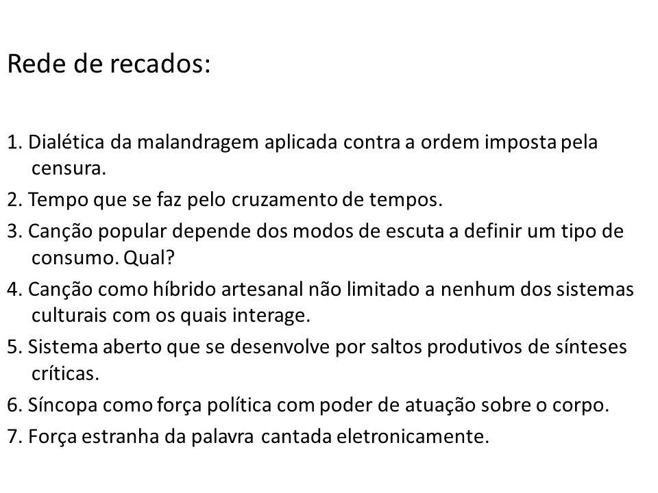Rede de recados: 1.Dialética da malandragem aplicada contra a ordem imposta pela censura.