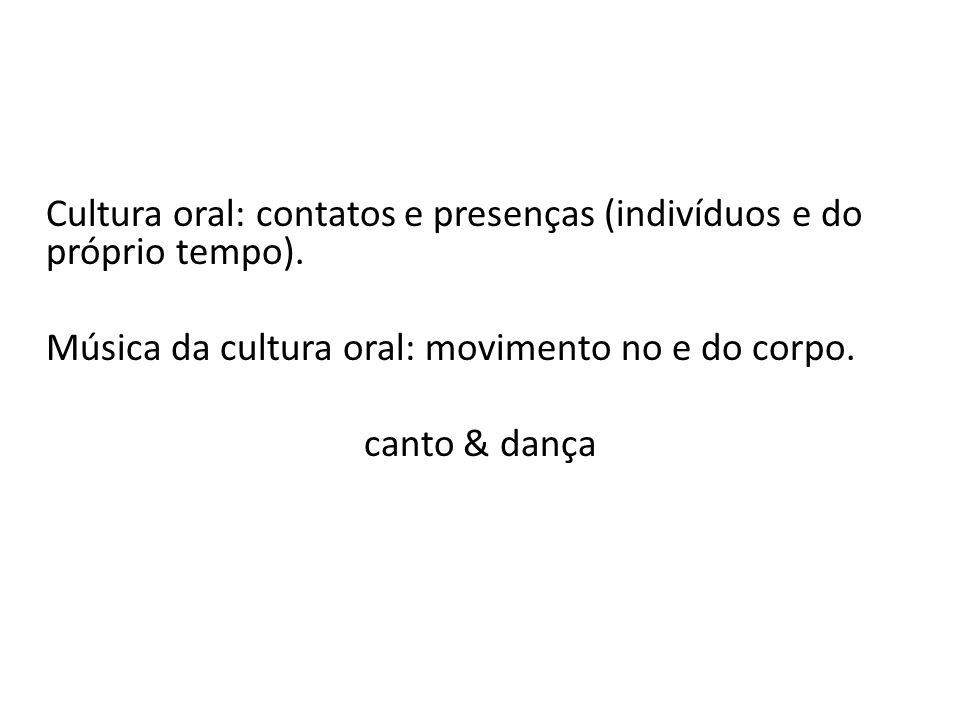 Cultura oral: contatos e presenças (indivíduos e do próprio tempo).