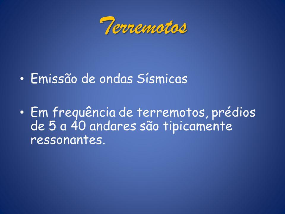 Terremotos Emissão de ondas Sísmicas Em frequência de terremotos, prédios de 5 a 40 andares são tipicamente ressonantes.