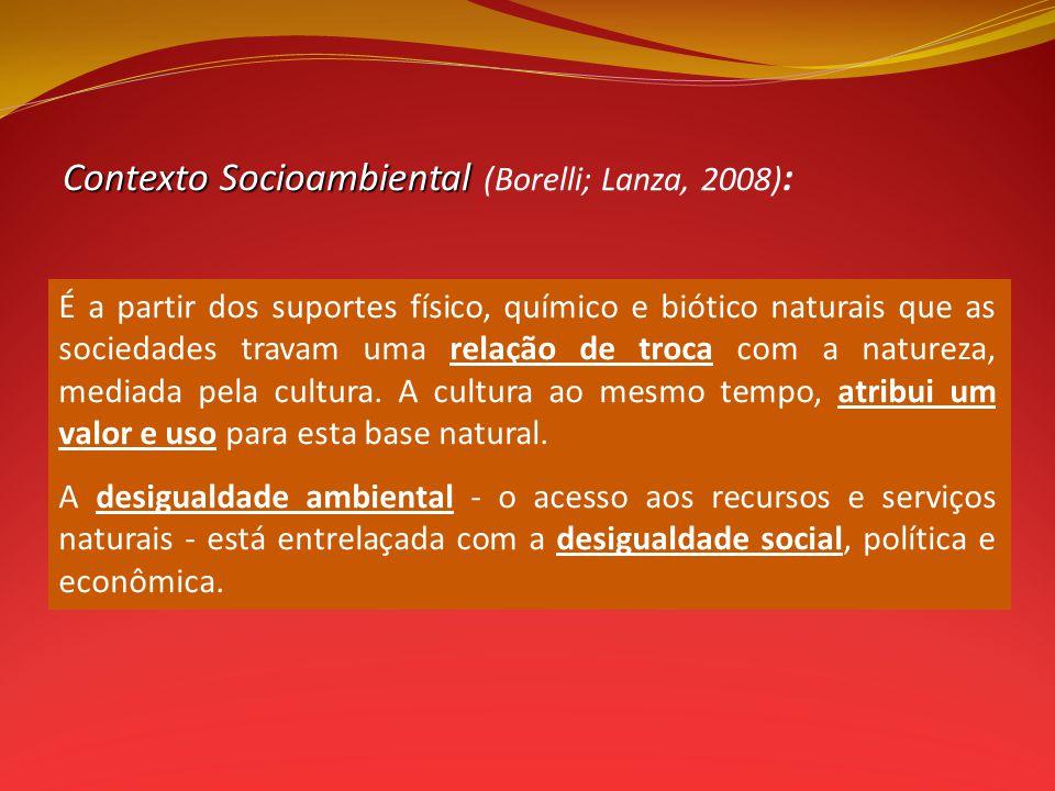 ContextoSocioambiental Contexto Socioambiental (Borelli; Lanza, 2008) : É a partir dos suportes físico, químico e biótico naturais que as sociedades travam uma relação de troca com a natureza, mediada pela cultura.