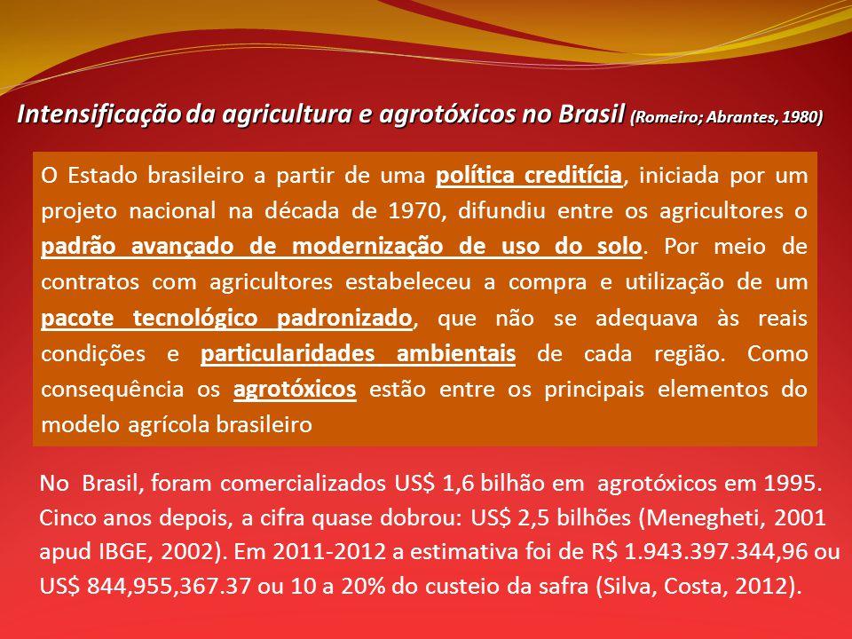 Intensificação da agricultura e agrotóxicos no Brasil (Romeiro; Abrantes, 1980) O Estado brasileiro a partir de uma política creditícia, iniciada por um projeto nacional na década de 1970, difundiu entre os agricultores o padrão avançado de modernização de uso do solo.