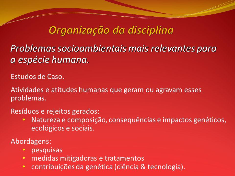 Problemas socioambientais mais relevantes para a espécie humana.