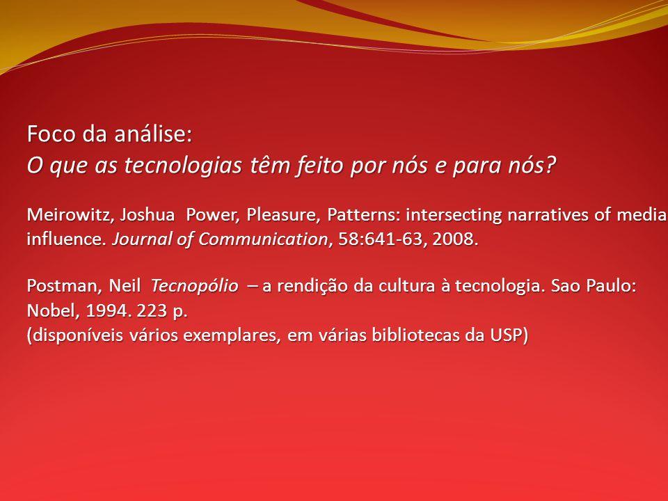 Foco da análise: O que as tecnologias têm feito por nós e para nós.