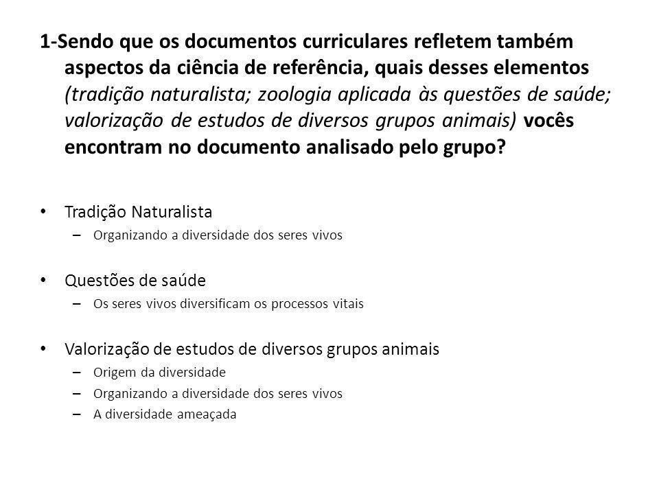 1-Sendo que os documentos curriculares refletem também aspectos da ciência de referência, quais desses elementos (tradição naturalista; zoologia aplic