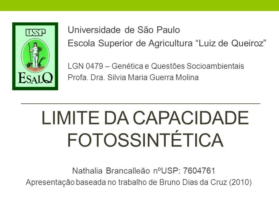 LIMITE DA CAPACIDADE FOTOSSINTÉTICA Universidade de São Paulo Escola Superior de Agricultura Luiz de Queiroz LGN 0479 – Genética e Questões Socioambie