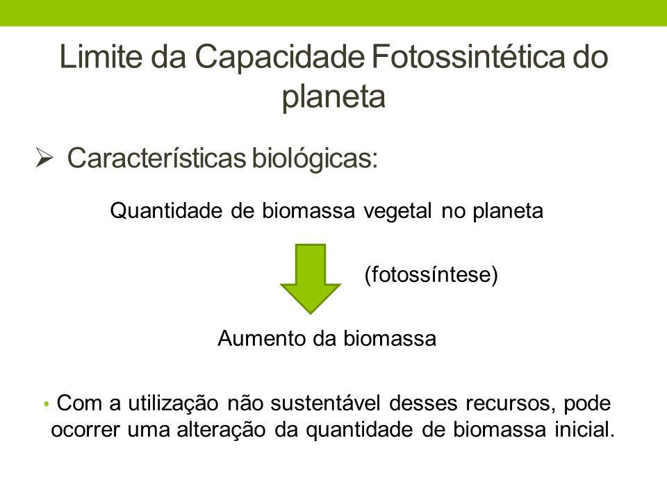Limite da Capacidade Fotossintética do planeta Quantidade de biomassa vegetal no planeta (fotossíntese) Aumento da biomassa Com a utilização não suste