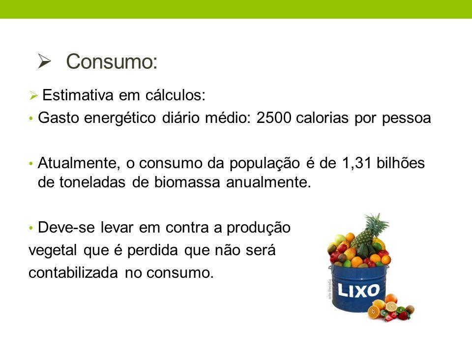 Estimativa em cálculos: Gasto energético diário médio: 2500 calorias por pessoa Atualmente, o consumo da população é de 1,31 bilhões de toneladas de b