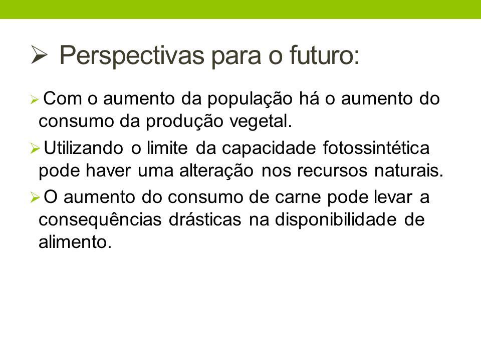 Perspectivas para o futuro: Com o aumento da população há o aumento do consumo da produção vegetal. Utilizando o limite da capacidade fotossintética p