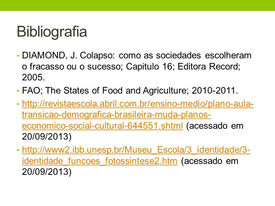 Bibliografia DIAMOND, J. Colapso: como as sociedades escolheram o fracasso ou o sucesso; Capitulo 16; Editora Record; 2005. FAO; The States of Food an