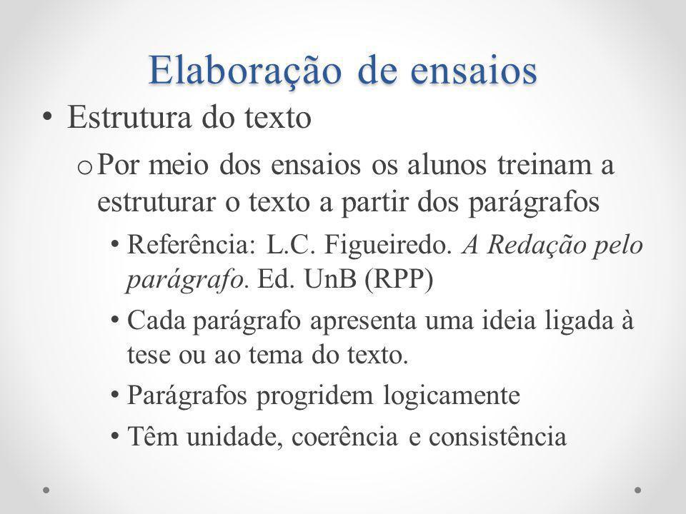 Elaboração de ensaios Estrutura do texto o Por meio dos ensaios os alunos treinam a estruturar o texto a partir dos parágrafos Referência: L.C.