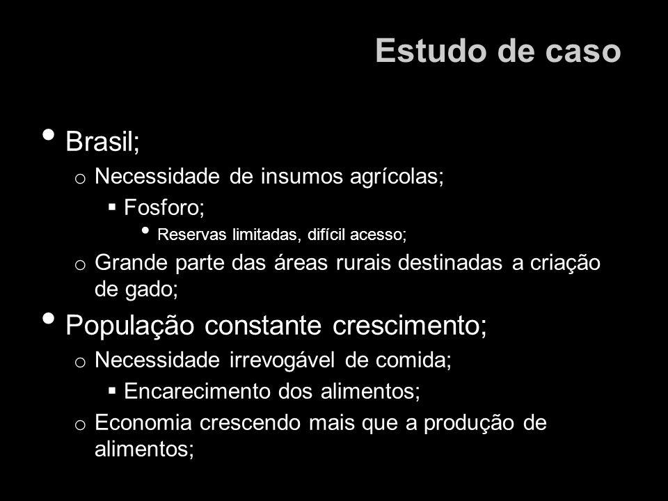Brasil; o Necessidade de insumos agrícolas; Fosforo; Reservas limitadas, difícil acesso; o Grande parte das áreas rurais destinadas a criação de gado;