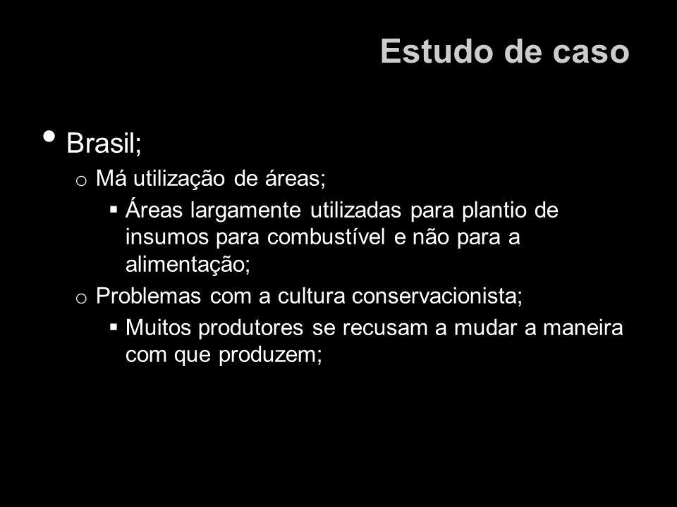Brasil; o Má utilização de áreas; Áreas largamente utilizadas para plantio de insumos para combustível e não para a alimentação; o Problemas com a cul