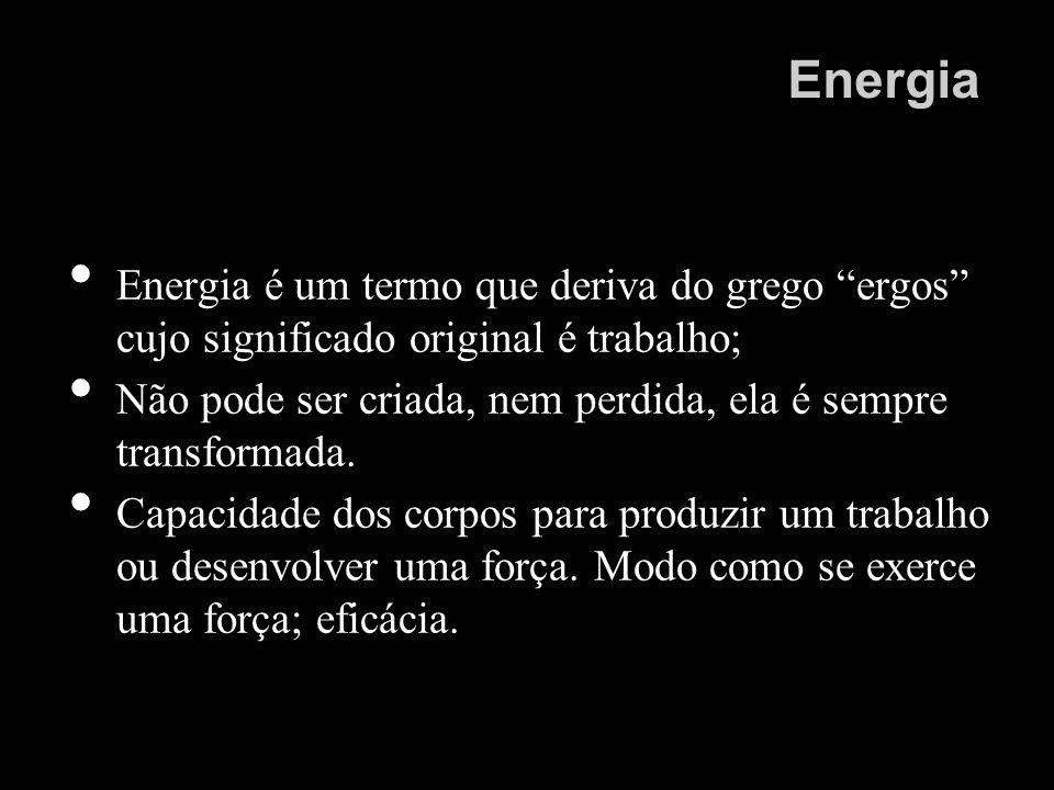 Energia Energia é um termo que deriva do grego ergos cujo significado original é trabalho; Não pode ser criada, nem perdida, ela é sempre transformada