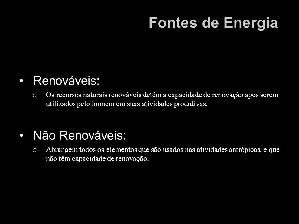 Renováveis: o Os recursos naturais renováveis detêm a capacidade de renovação após serem utilizados pelo homem em suas atividades produtivas. Não Reno