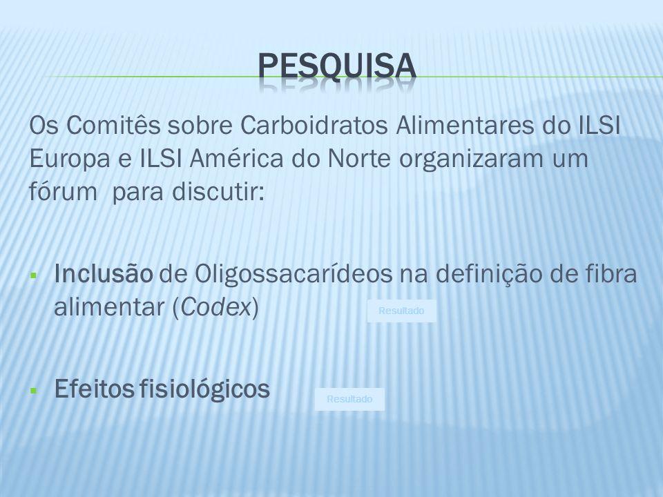 Os Comitês sobre Carboidratos Alimentares do ILSI Europa e ILSI América do Norte organizaram um fórum para discutir: Inclusão de Oligossacarídeos na d