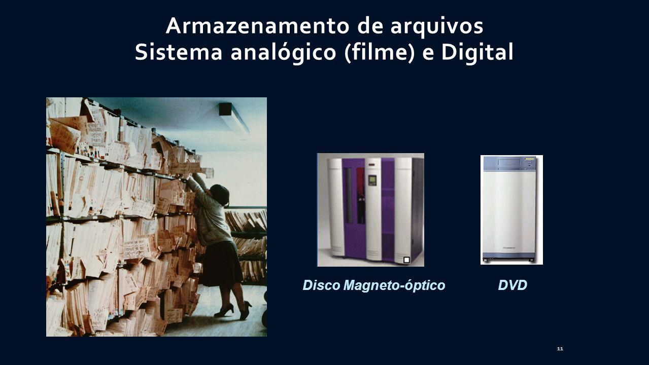 Disco Magneto-ópticoDVD Armazenamento de arquivos Sistema analógico (filme) e Digital 11