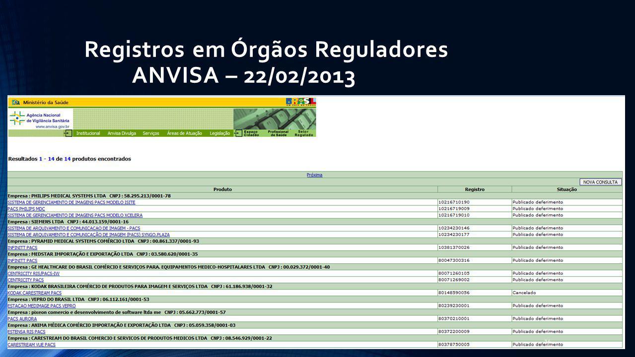 Registros em Órgãos Reguladores ANVISA – 22/02/2013 14