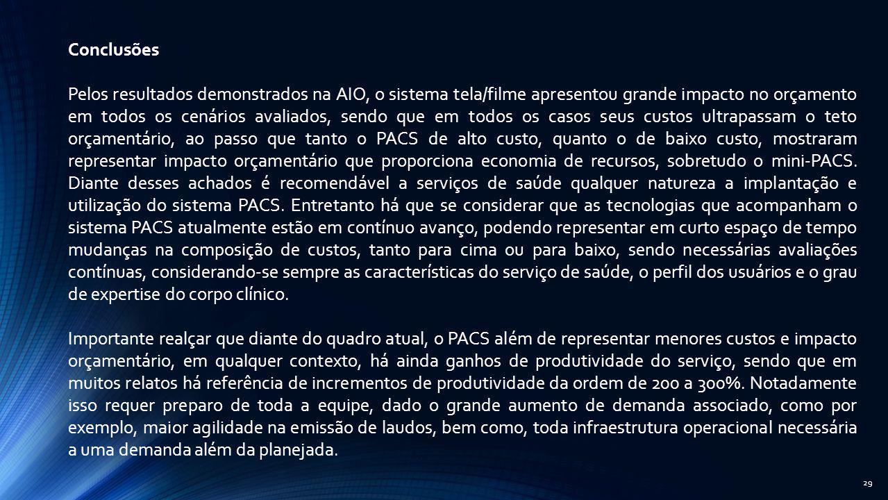 29 Conclusões Pelos resultados demonstrados na AIO, o sistema tela/filme apresentou grande impacto no orçamento em todos os cenários avaliados, sendo
