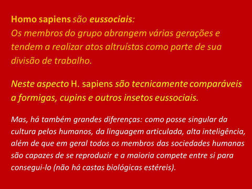 Homo sapiens são eussociais: Os membros do grupo abrangem várias gerações e tendem a realizar atos altruístas como parte de sua divisão de trabalho. N