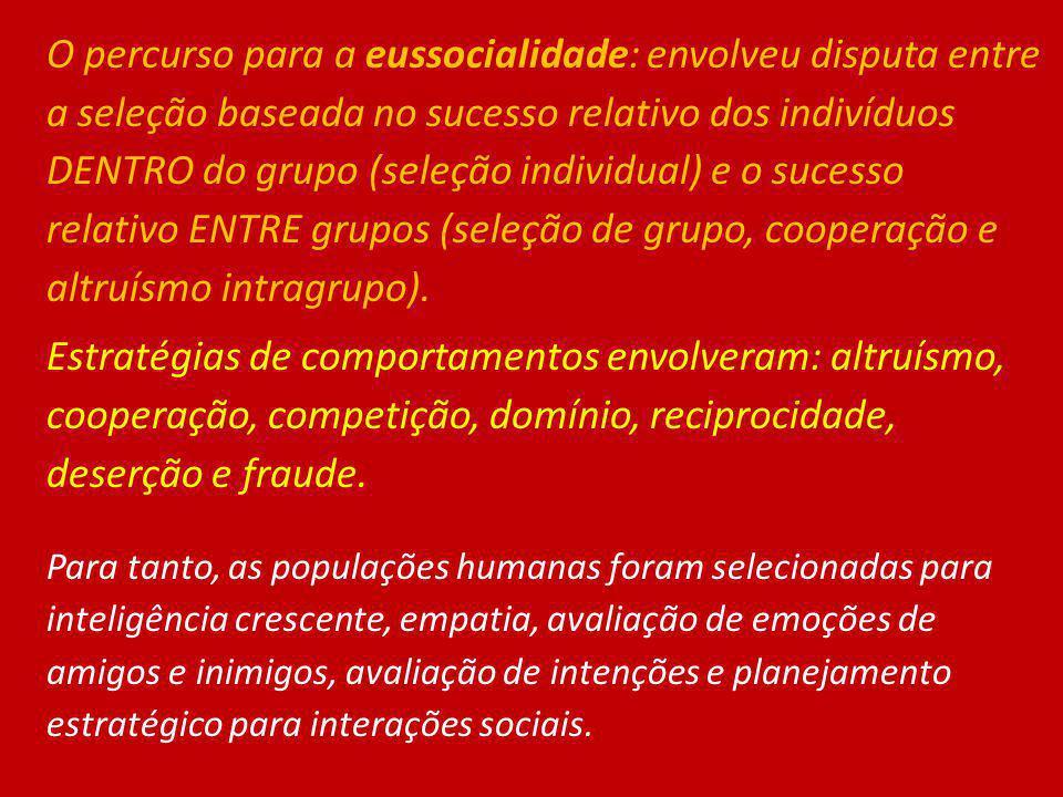 O percurso para a eussocialidade: envolveu disputa entre a seleção baseada no sucesso relativo dos indivíduos DENTRO do grupo (seleção individual) e o