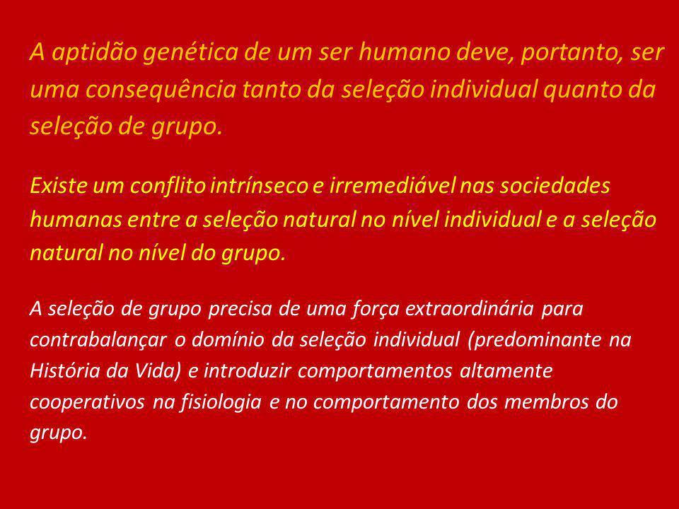 A aptidão genética de um ser humano deve, portanto, ser uma consequência tanto da seleção individual quanto da seleção de grupo. Existe um conflito in
