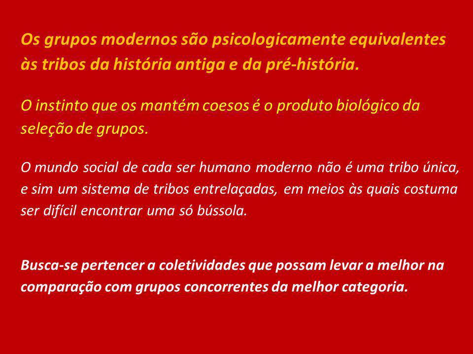 Os grupos modernos são psicologicamente equivalentes às tribos da história antiga e da pré-história. O instinto que os mantém coesos é o produto bioló