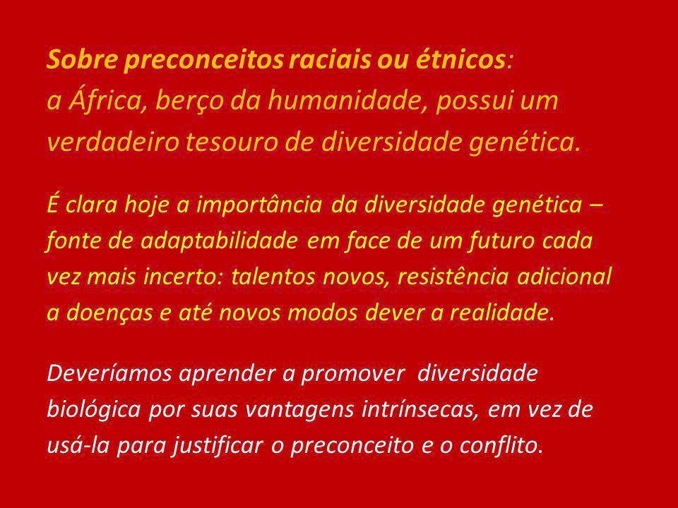 Sobre preconceitos raciais ou étnicos: a África, berço da humanidade, possui um verdadeiro tesouro de diversidade genética. É clara hoje a importância