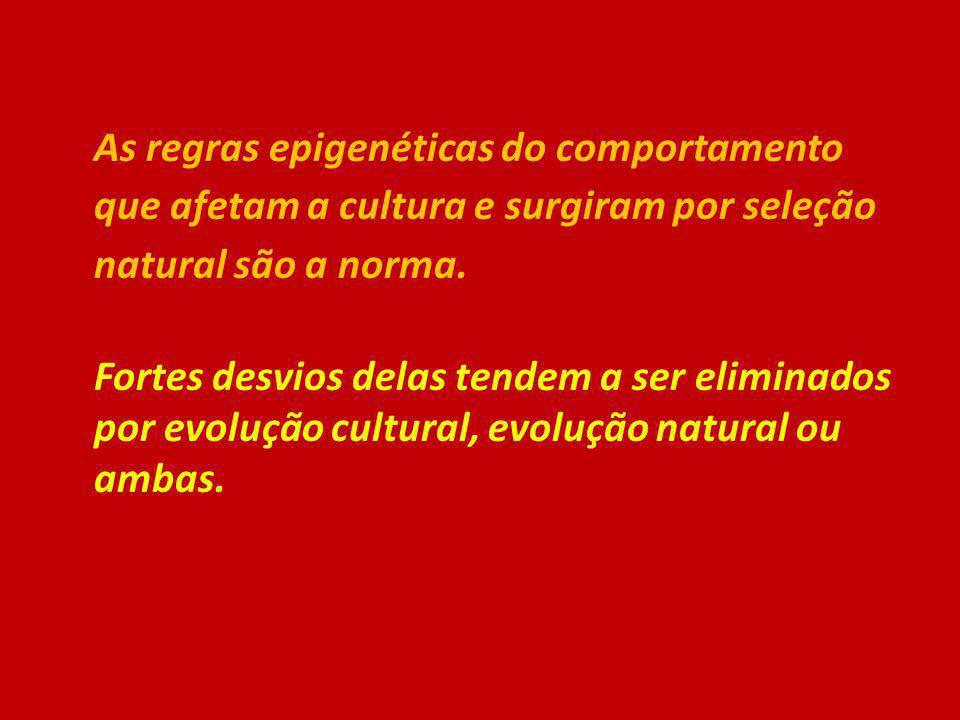 As regras epigenéticas do comportamento que afetam a cultura e surgiram por seleção natural são a norma. Fortes desvios delas tendem a ser eliminados