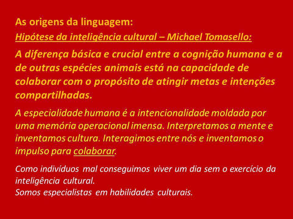 As origens da linguagem: Hipótese da inteligência cultural – Michael Tomasello: A diferença básica e crucial entre a cognição humana e a de outras esp
