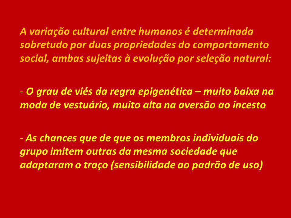A variação cultural entre humanos é determinada sobretudo por duas propriedades do comportamento social, ambas sujeitas à evolução por seleção natural