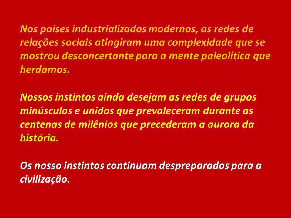 Nos países industrializados modernos, as redes de relações sociais atingiram uma complexidade que se mostrou desconcertante para a mente paleolítica q
