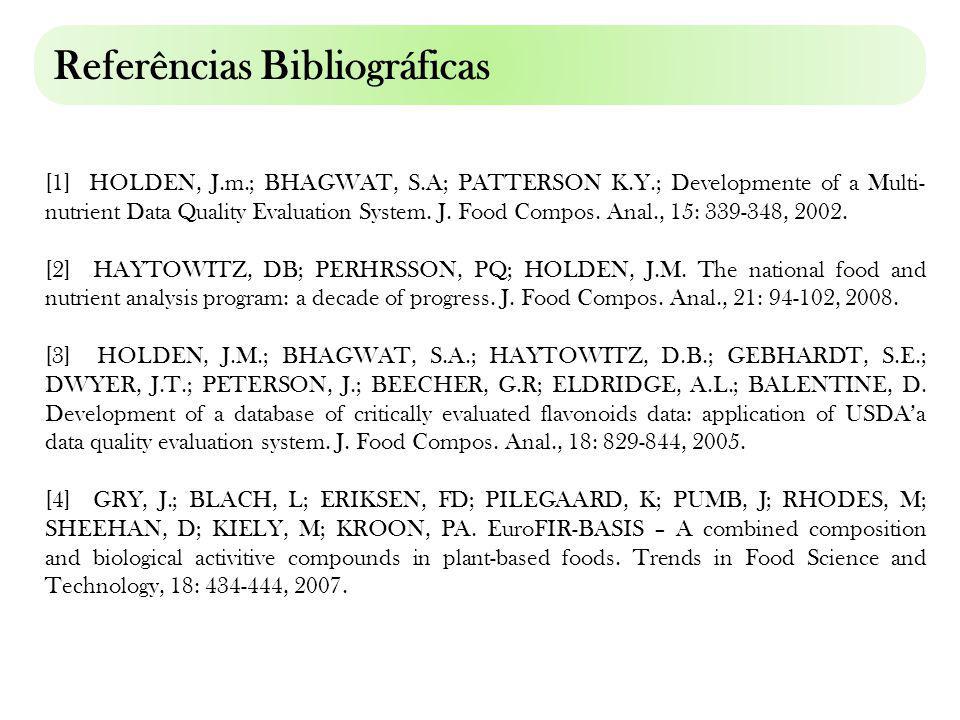 Referências bibliográficas [1] HOLDEN, J.m.; BHAGWAT, S.A; PATTERSON K.Y.; Developmente of a Multi- nutrient Data Quality Evaluation System. J. Food C