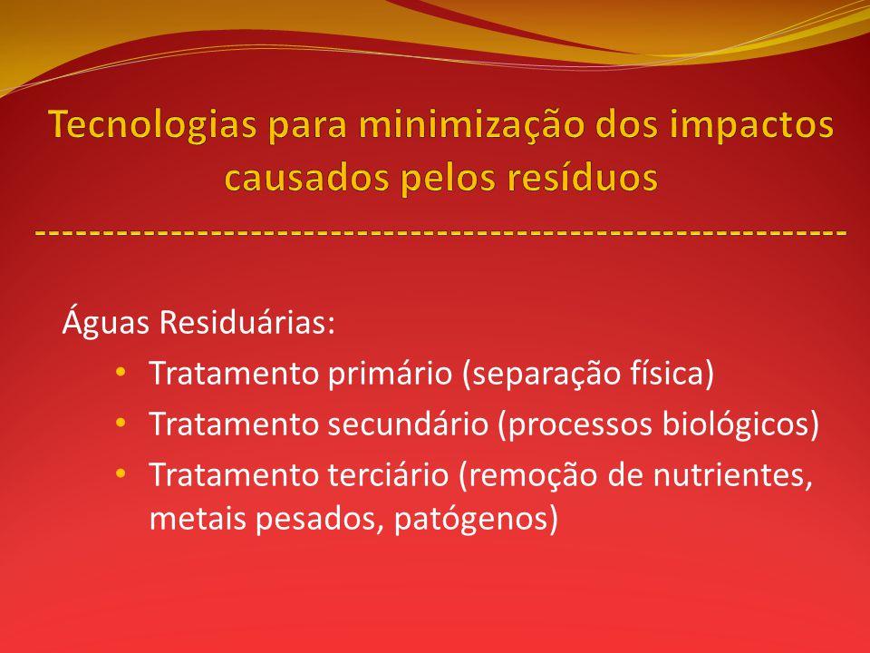 Águas Residuárias: Tratamento primário (separação física) Tratamento secundário (processos biológicos) Tratamento terciário (remoção de nutrientes, me