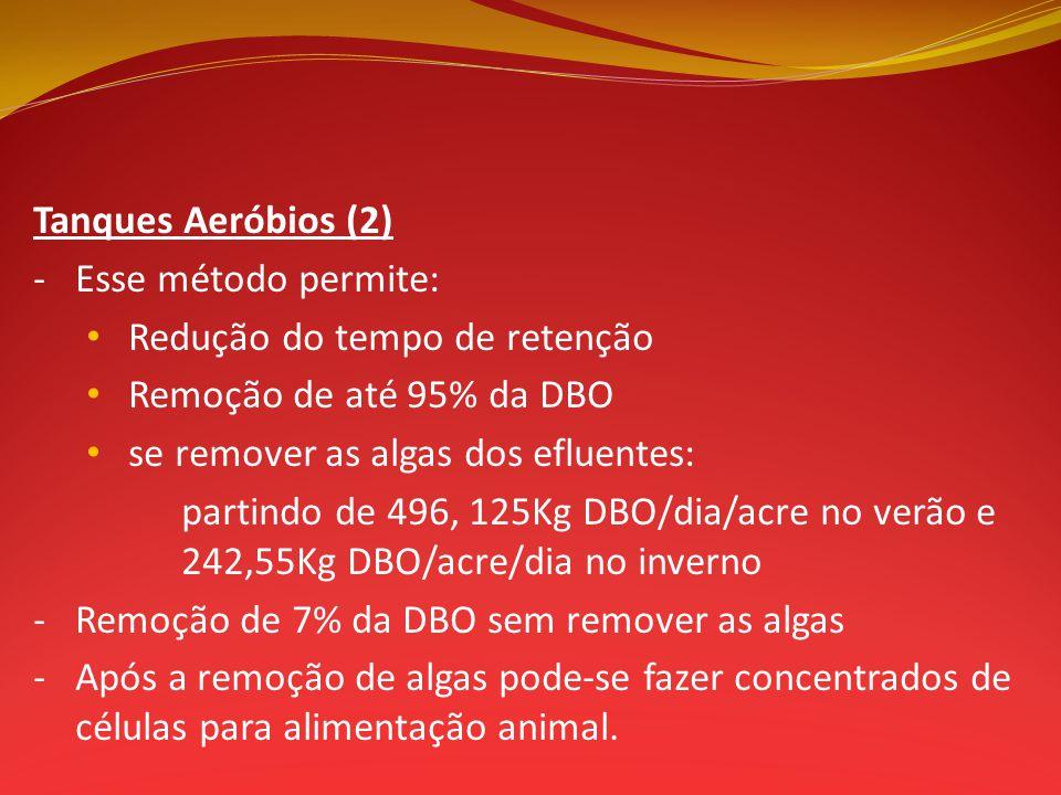Tanques Aeróbios (2) -Esse método permite: Redução do tempo de retenção Remoção de até 95% da DBO se remover as algas dos efluentes: partindo de 496,