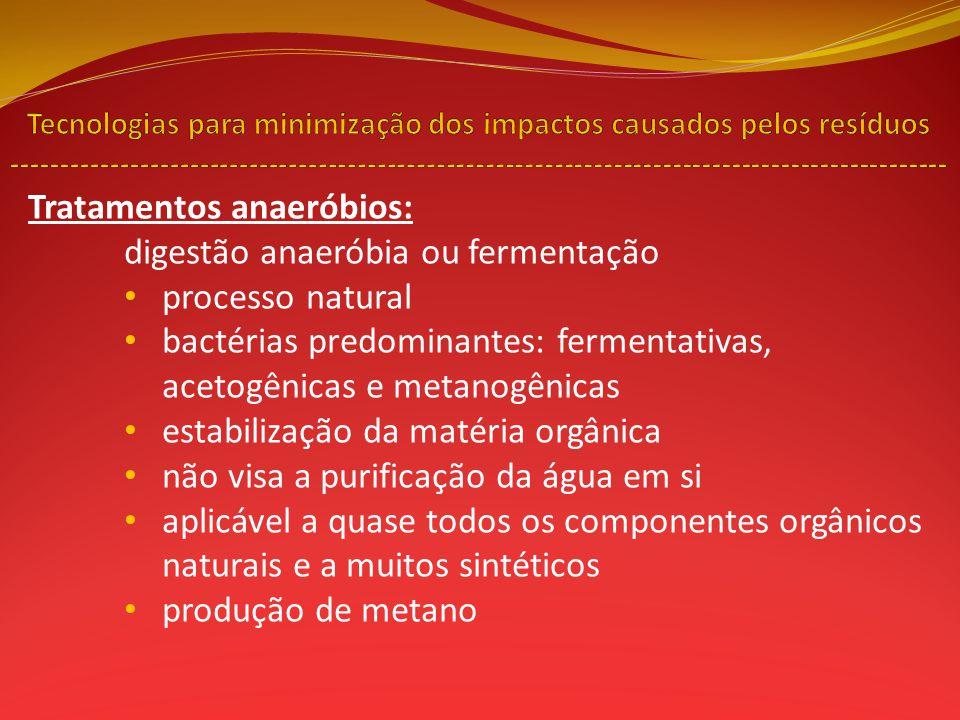 Tratamentos anaeróbios: digestão anaeróbia ou fermentação processo natural bactérias predominantes: fermentativas, acetogênicas e metanogênicas estabi