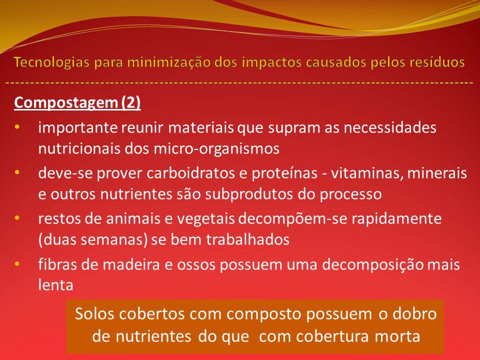 Compostagem (2) importante reunir materiais que supram as necessidades nutricionais dos micro-organismos deve-se prover carboidratos e proteínas - vit