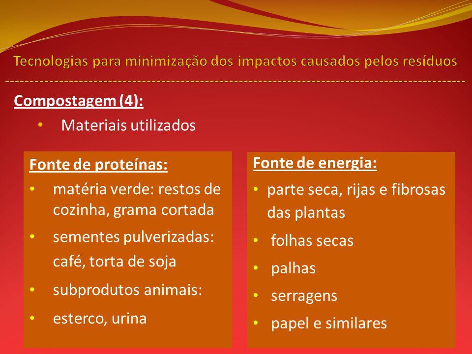 Compostagem (4): Materiais utilizados Fonte de proteínas: matéria verde: restos de cozinha, grama cortada sementes pulverizadas: café, torta de soja s