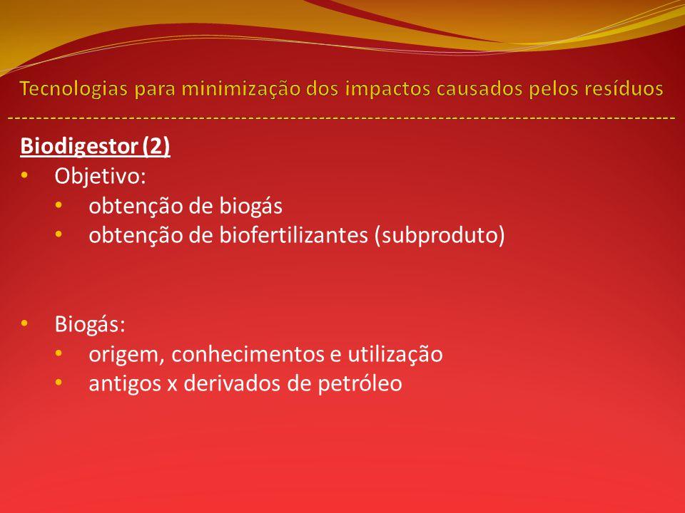 Biodigestor (2) Objetivo: obtenção de biogás obtenção de biofertilizantes (subproduto) Biogás: origem, conhecimentos e utilização antigos x derivados