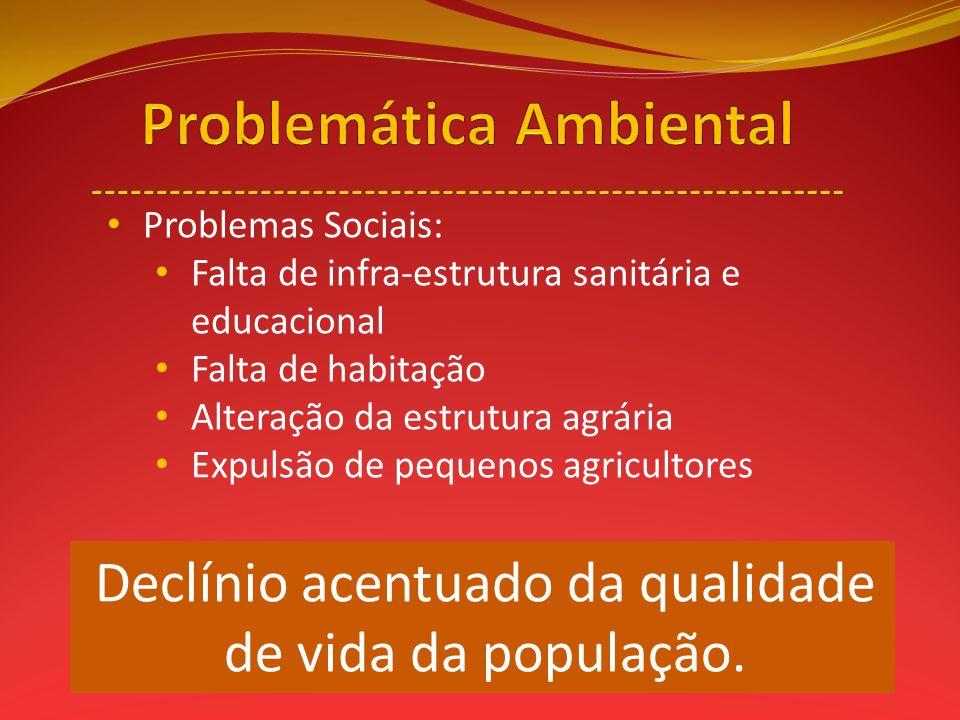 Problemas Sociais: Falta de infra-estrutura sanitária e educacional Falta de habitação Alteração da estrutura agrária Expulsão de pequenos agricultore