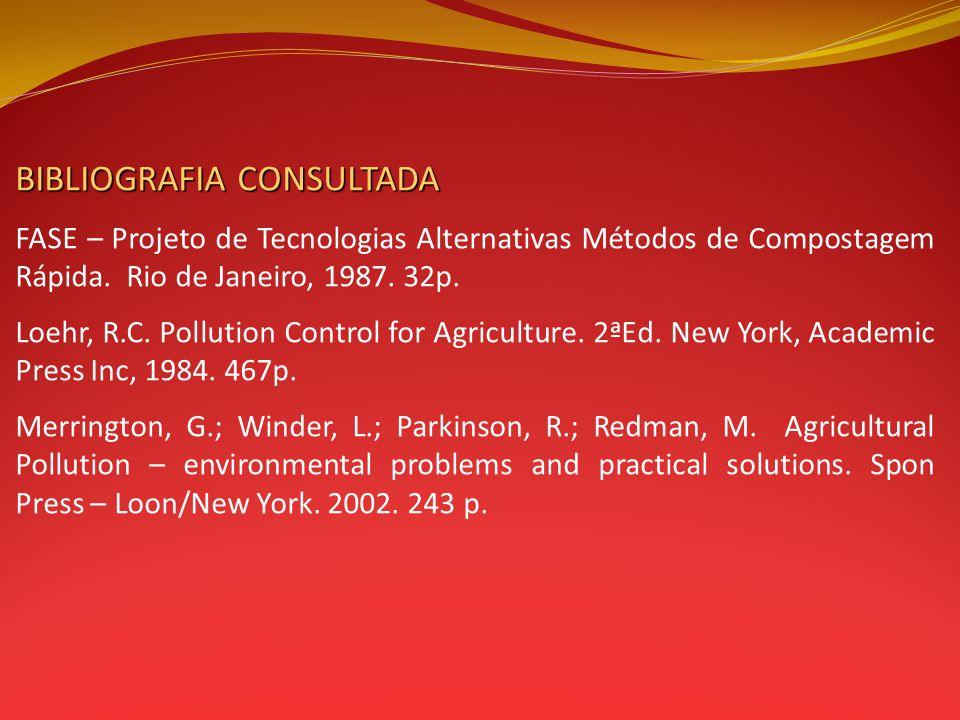 BIBLIOGRAFIA CONSULTADA FASE – Projeto de Tecnologias Alternativas Métodos de Compostagem Rápida. Rio de Janeiro, 1987. 32p. Loehr, R.C. Pollution Con